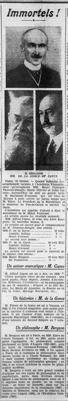 #1914 Le philosophe Henri BERGSON élu à l'Académie française, avec MM de la GORCE et CAPUS - L'Ouest-Eclair (Rennes) - une du 13 fevrier 1914 | Gallica - Bibliothèque nationale de France