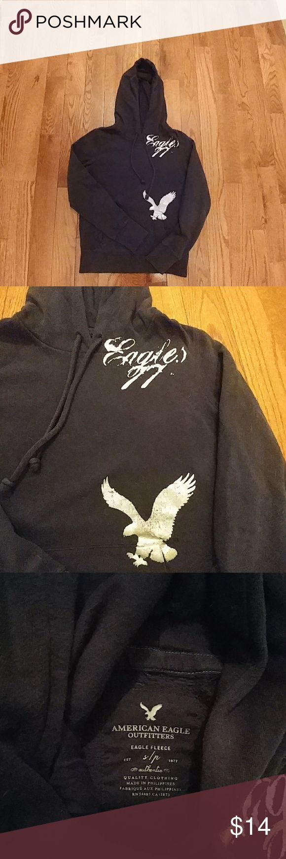 American Eagle Sweatshirt AE Rare Navy Blue w Silver Eagle And Silver Writing. Preloved but Good Condition. Worn Very Few Times. Great for Spring American Eagle Outfitters Tops Sweatshirts & Hoodies