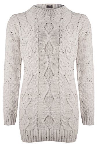 d92e65104 Womens Long Sleeve CHUNKY DIAMOND CABLE KNITTED Ladies Jumper ...