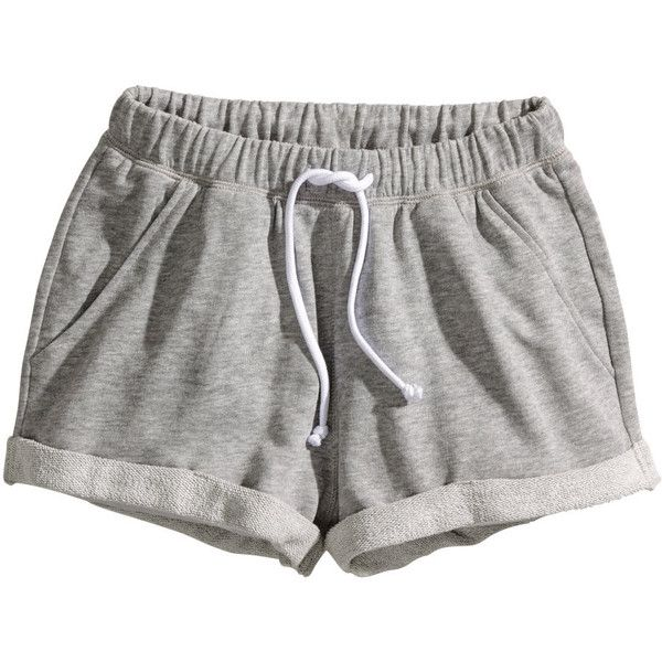 H&M Sweatshirt shorts ($5.91) ❤ liked on Polyvore featuring shorts, bottoms, pants, pajamas, grey, gray shorts, grey shorts, h&m shorts and h&m