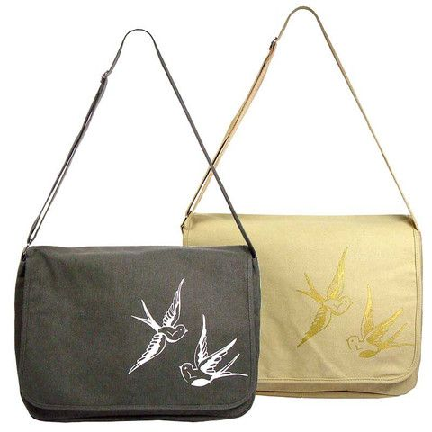 Swallow Guild Vintage Feel Canvas Messenger Bag – Ask Alice by All Gifts Online