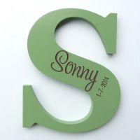 Personalised Wooden Letters - Moss Green / Chocolate