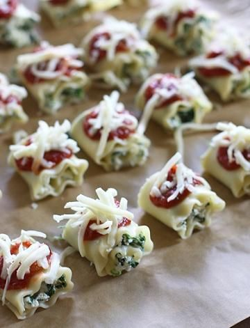 Mini Lasagna Roll Ups Appetizer... time I stepped up my appetizers LOL. These are super simple to make but look so elegant!