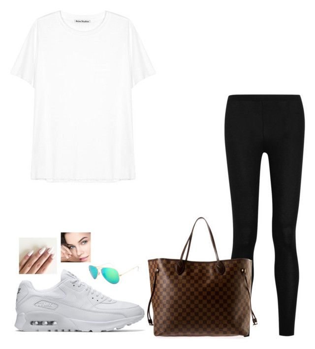 """Untitled #292"" by mariapangal on Polyvore featuring Donna Karan, Acne Studios, NIKE, Louis Vuitton and Ray-Ban"
