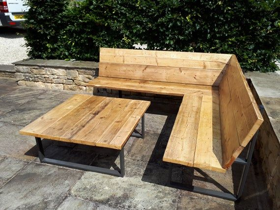 Reclaimed Scaffold Board Steel Corner Bench Sofa 43cm Seat