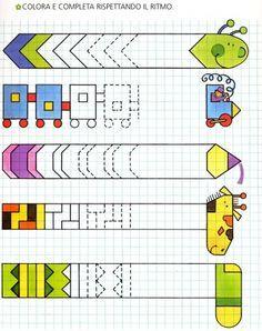 Muster fortsetzen, Serialität, anmalen, malen, ausmalen, vervollständigen, Farben, Mathe, räumliches sehen, Raumlage, Raum, Wahrnehmung, Konzentration, konzentrieren, wahrnehmen, Vorschule, alle Klassen