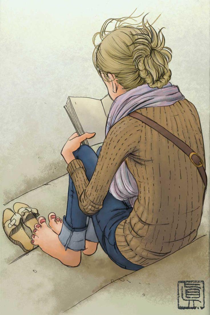"""Igor Shin Moromisato, """"A girl reading a book by the Rive Reine"""": Books, Shoulder Bags, Igor Shin, Girls Reading, Illustrations, Shin Moromisato, Rivers Rhine, Rive Reining"""