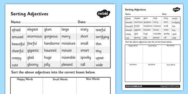 Sorting Adjectives Worksheet - adjectives sorting worksheets - descriptive words for resume
