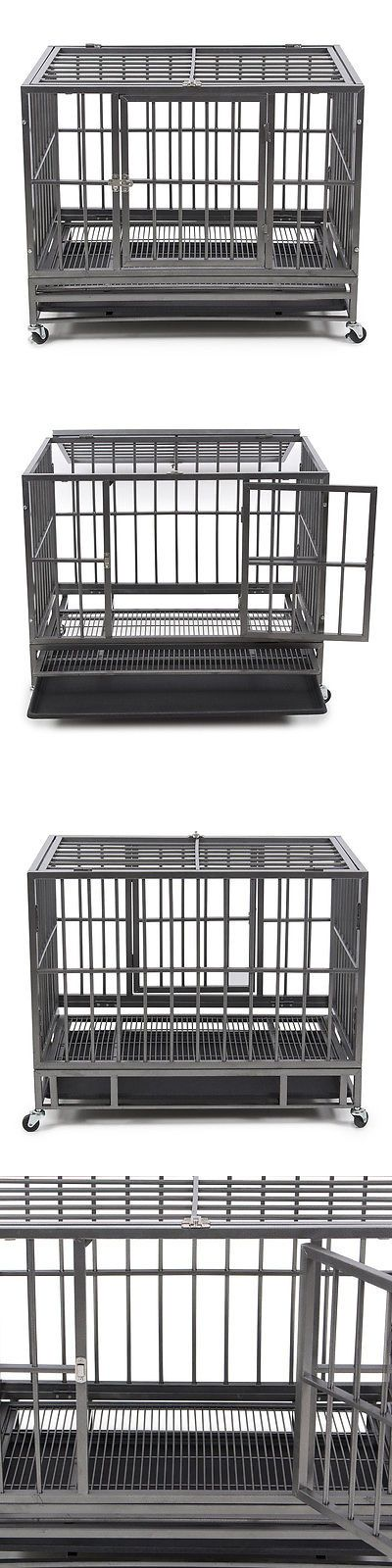 Cages and Crates 121851: New 36 Heavy Duty Frame Dog Animal Pet Crate Cage Kennel With (4)-Wheels Silver BUY IT NOW ONLY: $57.99