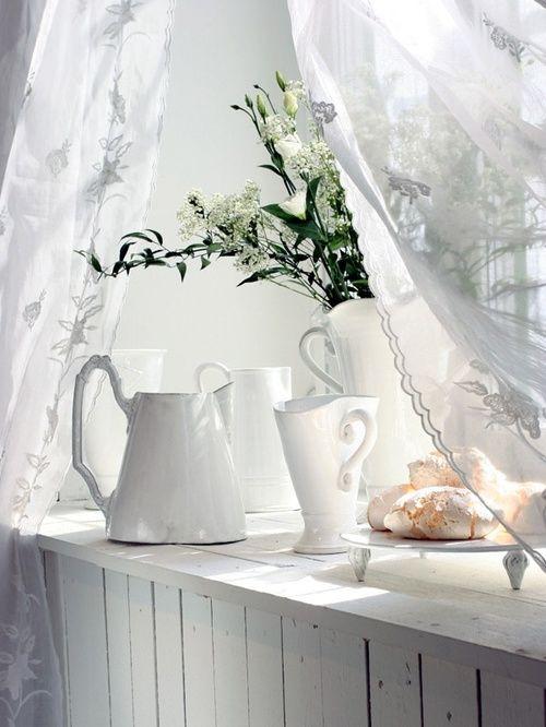 White jugs - layer on shelves, tables. Versatile, timeless