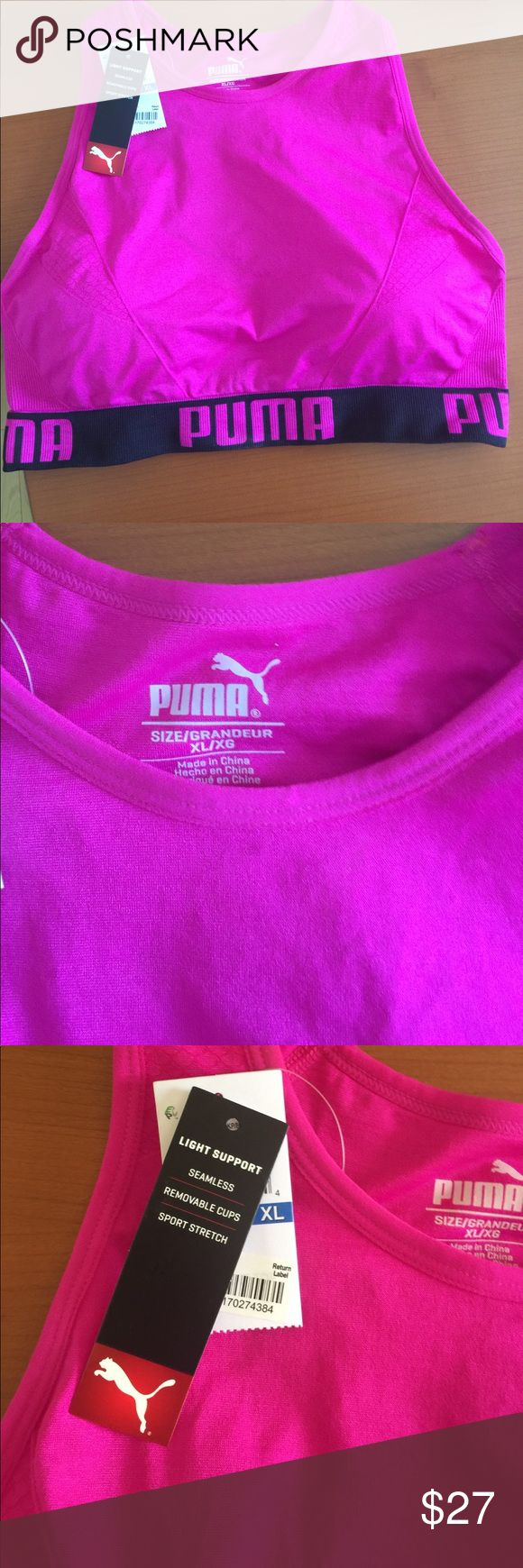 Puma Sports Bra XL new!!! I removed tags too soon, but they are there, bought from Macy's.  Love the quality and the solid strip going down the back size XL!!! Padding comes out if you want!! Puma Other
