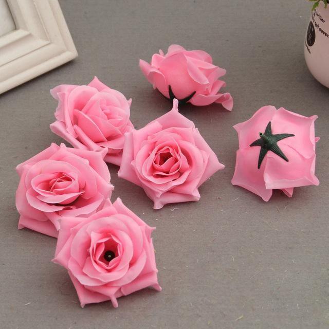 50pcs Lot Artificial Rose Heads For Diy Wedding Party Home Decor In 2020 Diy Wedding Artificial Roses Diy Bouquet