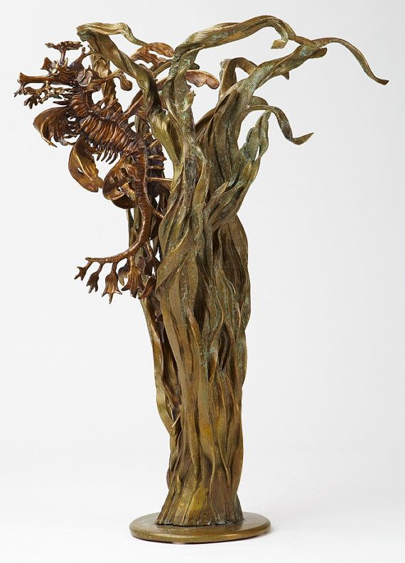Check out Bronze sculpture leafy sea dragon seahorse with sea grass by Kirk McGuire on kirkmcguiresculpture