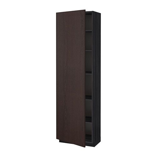 IKEA - METOD, High cabinet with shelves, wood effect black, Ekestad brown, 60x37x200 cm, , You can customise spacing as you need, because the shelf is adjustable.You can choose to mount the door on the right or left side.Sturdy frame construction, 18 mm thick.Snap-on hinges can be mounted on the door without screws, and you can easily remove the door for cleaning.