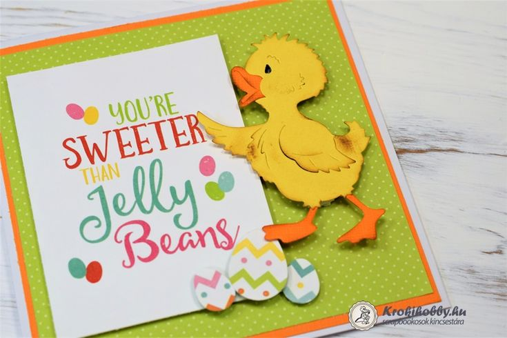 Könnyen és gyorsan készíthetünk húsvéti képeslapokat a Cottage Cutz, Quackers Quack cuki vágósablonjával.