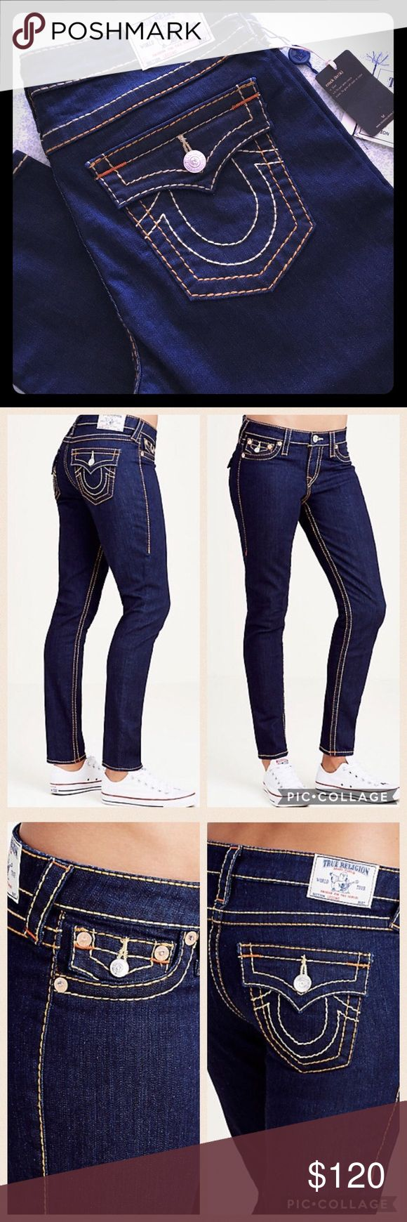 "NWT True Religion Super Skinny Big T Women's Jeans ONLY AVAILABLE UNTIL FRIDAY 1/20/17!!! BUY NOW!!! Please feel free to ask questions... Brand NEW True Religion Womens Jeans Flap Pockets in Body Rinse.  Super Skinny Leg Mid rise - 9-1/2"" Waist - 17"" 30"" inseam Zip Fly 92% cotton 6% poly 2% elastane True Religion Jeans Skinny"