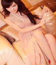vestidos de noche, vestidos de fiesta, vestidos de novia, vestidos largos, de color rosa de gasa sin espalda hijo. :: Falda de hendidura lateral de la moda coreana, vestido de novia, vestido de fiesta, vestido maxi, vestidos maxis, la última moda.