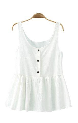 White O-neck Falbala Hem Vest - 6ks.com