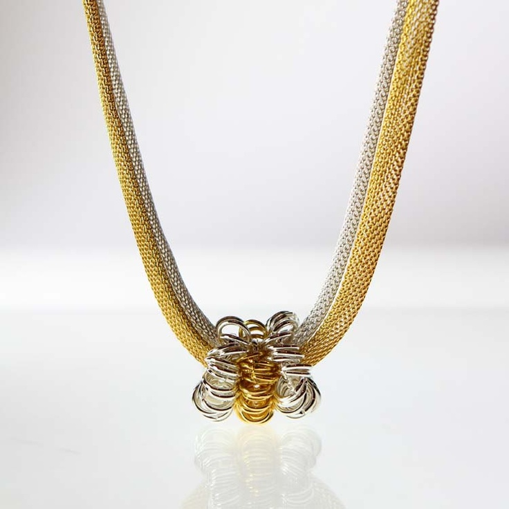 Gold and Silver Mesh Chain With Gold and Silver Pendant