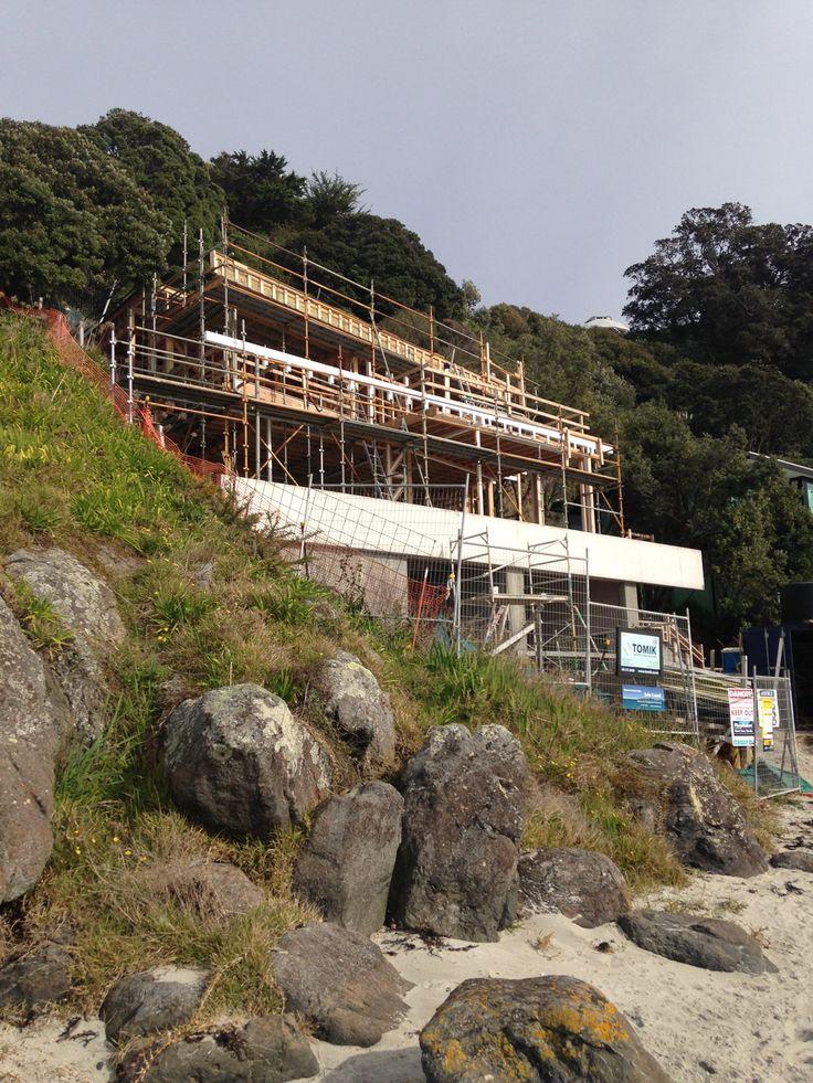 The Waiheke House, progressing with construction on the beachfront,