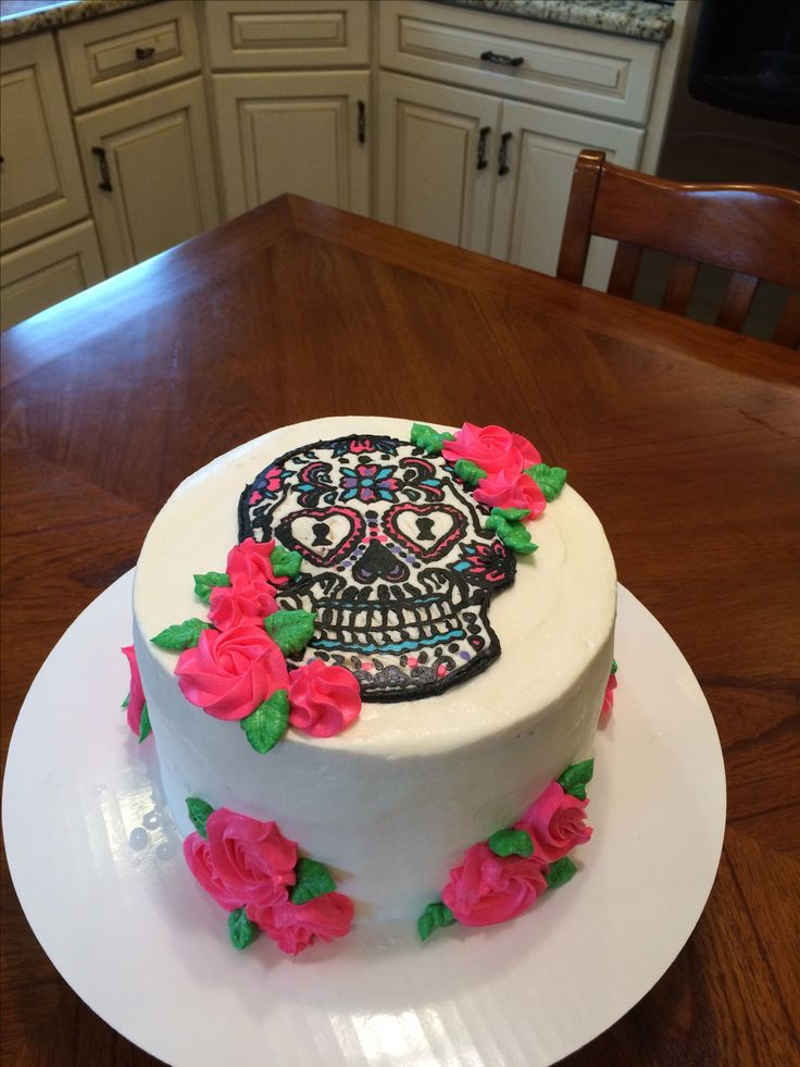 Candy skull birthday cake, buttercream, 21st birthday for her