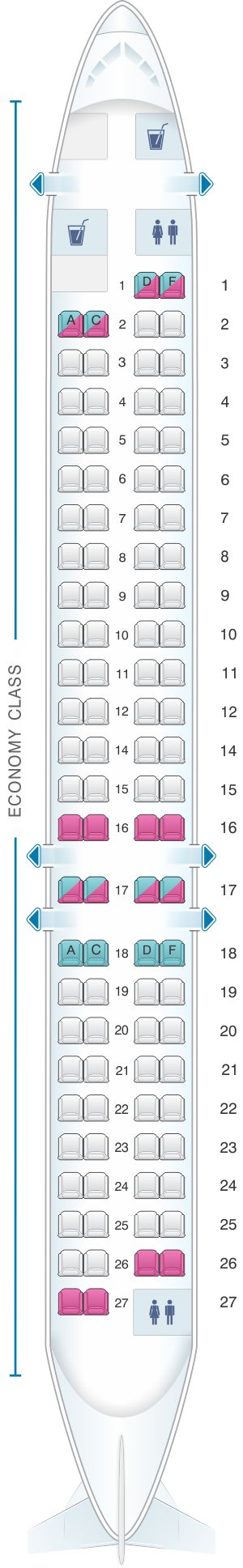 Seat Map Iberia Regional – Air Nostrum CRJ 1000