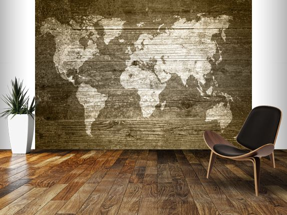 Inspiration 40+ Wood Wall Mural Decorating Inspiration Of Wallpops - best of world map for wall mural