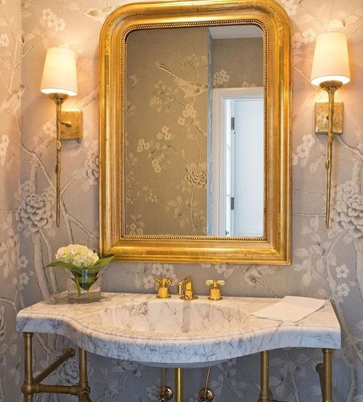 Powder room Louis Phillipe mirror Schumacher Chinois Palais MMD chinoiserie wallpaper brass vanity sink base waterworks henry faucet