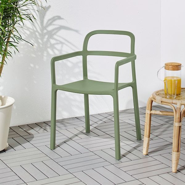 YPPERLIG Chair with armrests, inoutdoor green in 2020