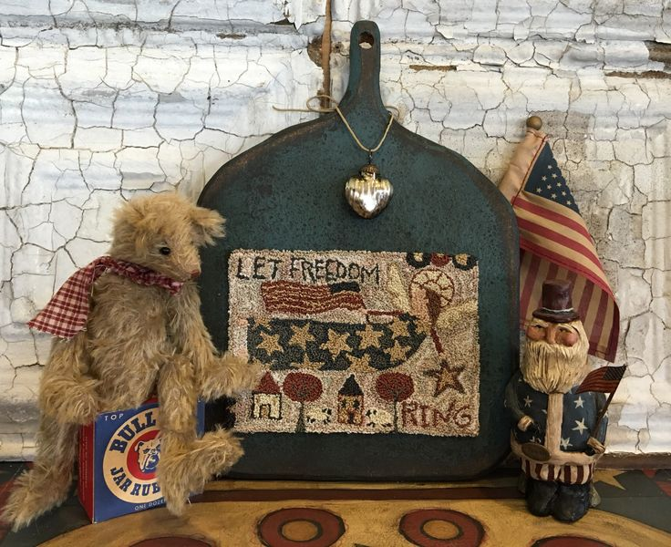 "Get my ""Let Freedom Ring"" Punchneedle pattern free in the summer issue of Punchneedle & Primitive Stitchers Magazine! #punchneedle #usa #americana #folkart"