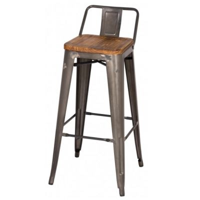 Metroline Low Back Metal Counter Stool with Wood Seat in Gun Metal Matches with my