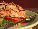 Salmon with Puff Pastry and Pesto Recipe.  Quick and easy brunch entree for guests!  Giada De Laurentiis is my hero! (skip the puff pastry and it's a go-to for SouthBeach phase 1 dieters!)