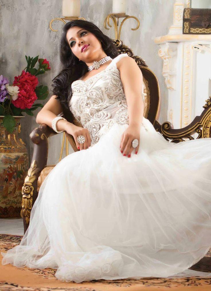 Wonderful White Color Net Fancy Designer Party Wear Gown http://www.angelnx.com/