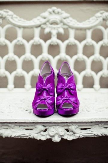 white purple bows