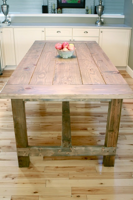 The Friendly Home: Weathered Farmhouse Table (build to counter height and use as island and dining table)