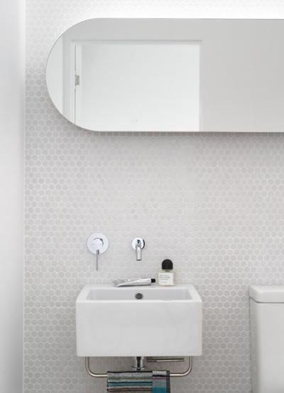 Marble hexagon mosaic penny tile, white bathroom, light grey bathroom
