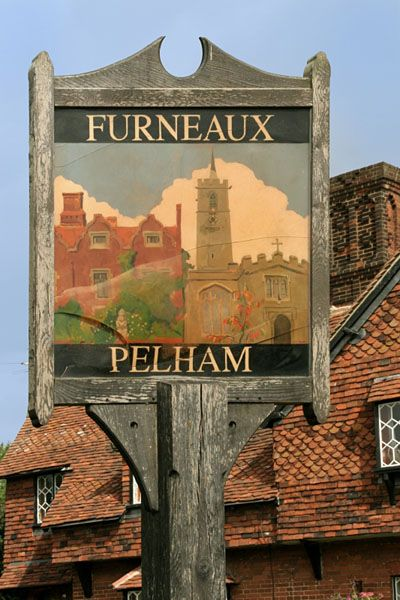 The village sign of Furneaux Pelham in Hertfordshire, England