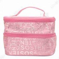 Vaaleanpunainen tuplakerros meikkilaukku