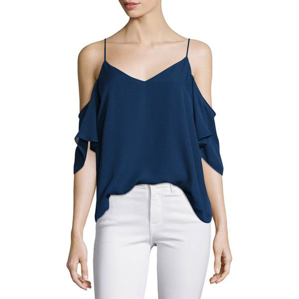 Haute Hippie Silk Button Back Cold Shoulder Blouse Midnight