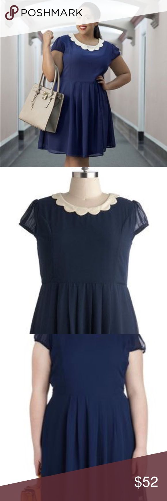Modcloth Surprise Me Dress Absolutely gorgeous, classic navy dress with precious neckline, reminds me of Olive Oyl from Popeye! Only worn a few times, this is in perfect condition! Navy and cream 3x. Modcloth Dresses Midi