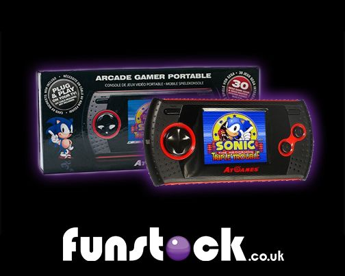 """A compact handheld device that includes 30 SEGA Game Gear/Master System classics! This sleek and durable device is perfect for anyone who wants to revisit the games of their youth, or for parents looking to introduce their kids to games of old.  http://www.funstock.co.uk/sega-arcade-gamer-portable  Use code """"PINFUN"""" for 5% off!  #retrogaming #sonic #christmas #giftideas #xmas #gaming"""