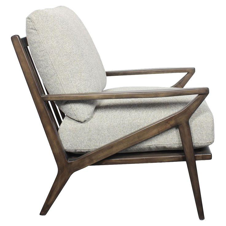 Brandon mid century modern grey cushion birch wood accent