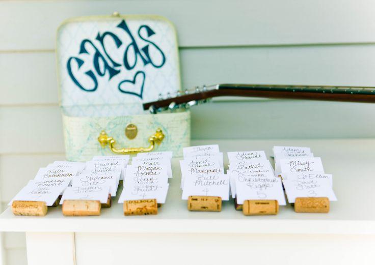 Garden Wedding | #Winecork #Placecard Holders | Kendra Krantz Photography #cjsoffthesquare