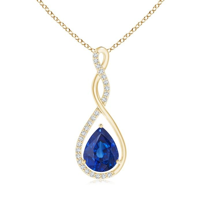 Angara Sapphire Drop Pendant in Yellow Gold