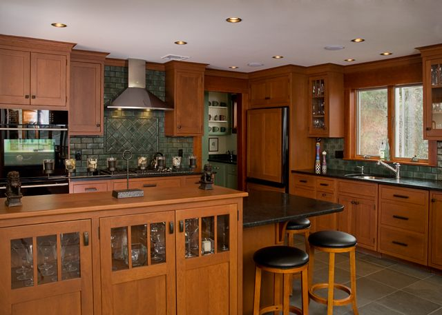 Cherry Kitchen Features Quality Custom Cabinetry In A Craftsman Style