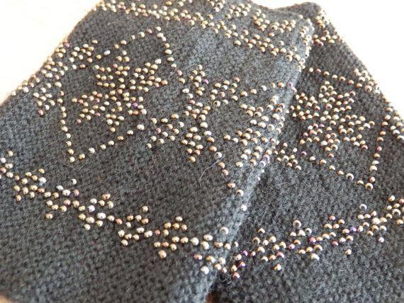 CHRISTMAS offer % Very soft wool black beaded by GittaDesign