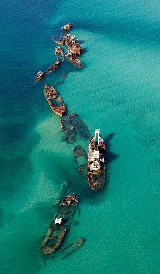 Man-made wreck near Tangalooma Island, Brisbane, Queensland, Australia