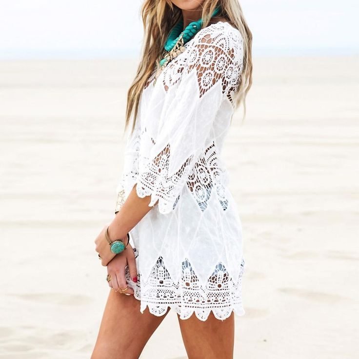 $22.31 - Awesome 2017 Summer Women Beach Mini White Dress Elegant Half Sleeve O Neck Lace Floral Crochet Hollow Out Solid Beach Dress Vestidos - Buy it Now!