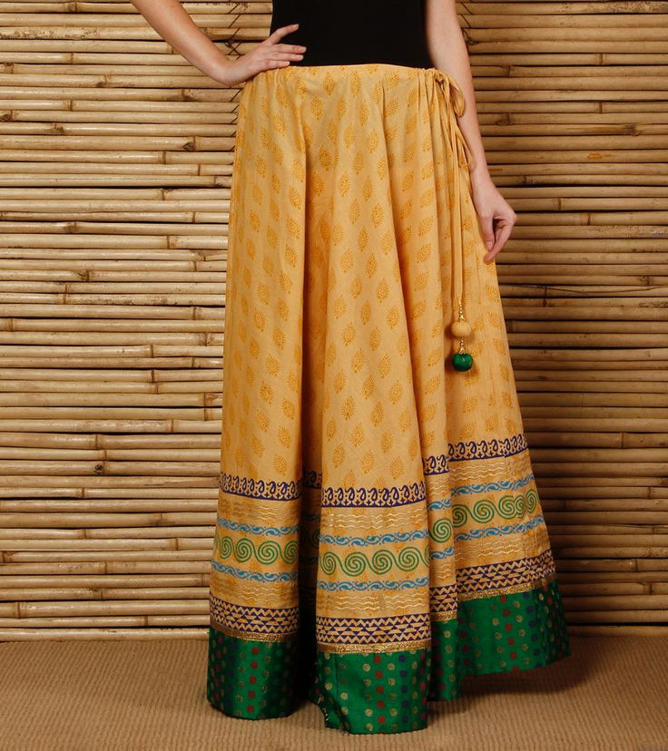 Beige Hand #Block #Printed Cotton #Skirt by #9rasa at #Indianroots