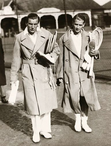 Sharp and very tomboy! We likey! jacket-archives:  Fred Perry (left) 1933 with a polo coat.